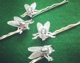 Fly Hairpins . Creepy Red Eyed Flies on Silver-tone Bobby Pins