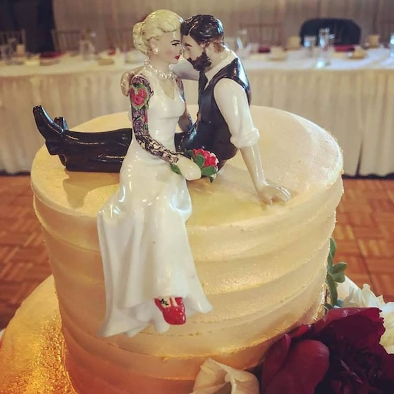 Tattooed Wedding Cake Topper . Bride and Groom Tattoos . | Etsy