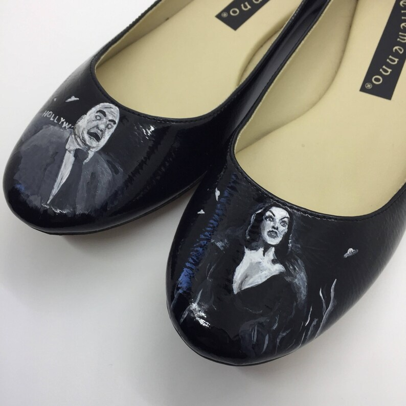 Plan 9 Ed Wood Inspired Hand Painted Ballet Flat Shoes 8M