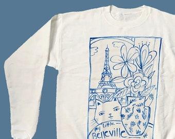 Belleville Sweatshirt   Handpainted   Paris   illustration   eco-friendly sweatshirt
