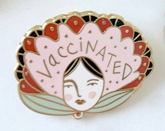 Vaccinated Enamel Pin | Gold