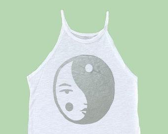 Yin Yang Face Halter Tank Top