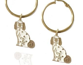 Staffordshire Dog Hoop Earrings (18kt gold + enamel)