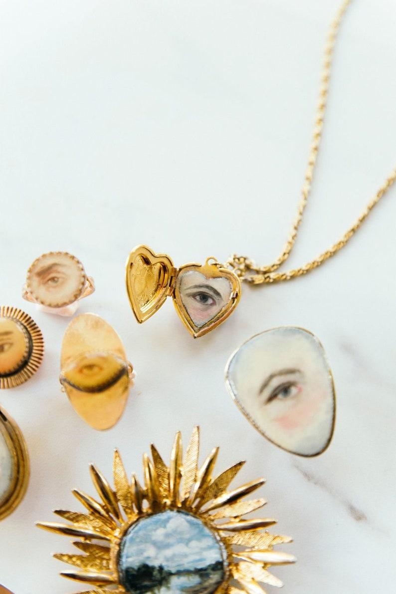 Custom Hand-Painted Eye Locket  Lover's Eye  Miniature image 0