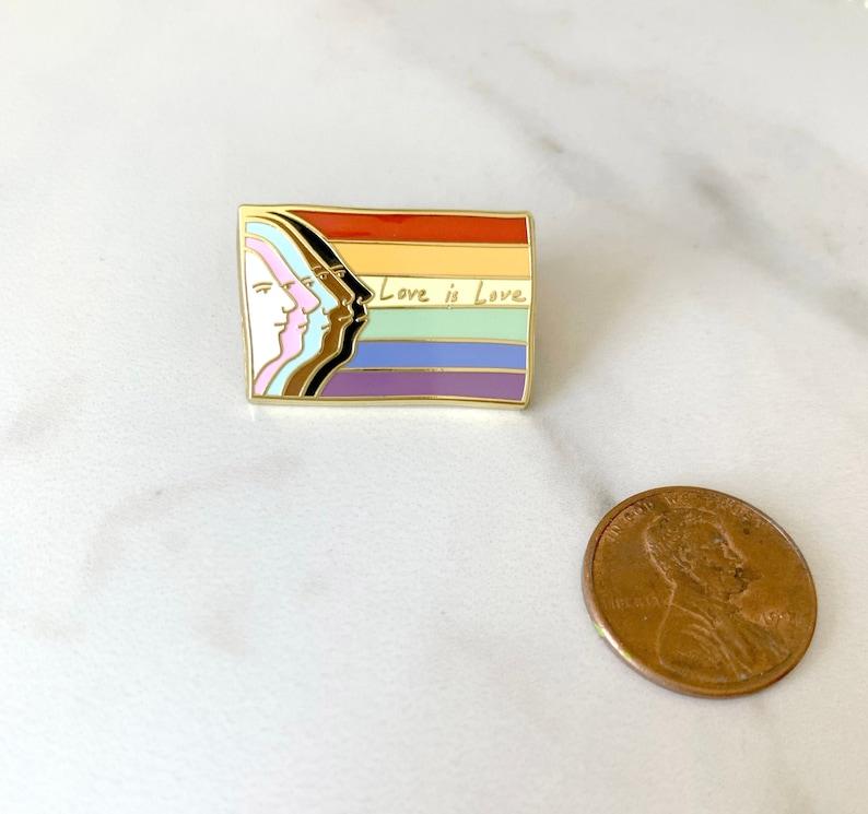 LGBTQ  Pride Rainbow Flag Enamel Pin  Gold  Love is Love image 0