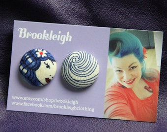 """Alexander Henry """"Lost At Sea"""", Fabric Covered Button Earrings 23mm, nautical pinup 50s inspired"""