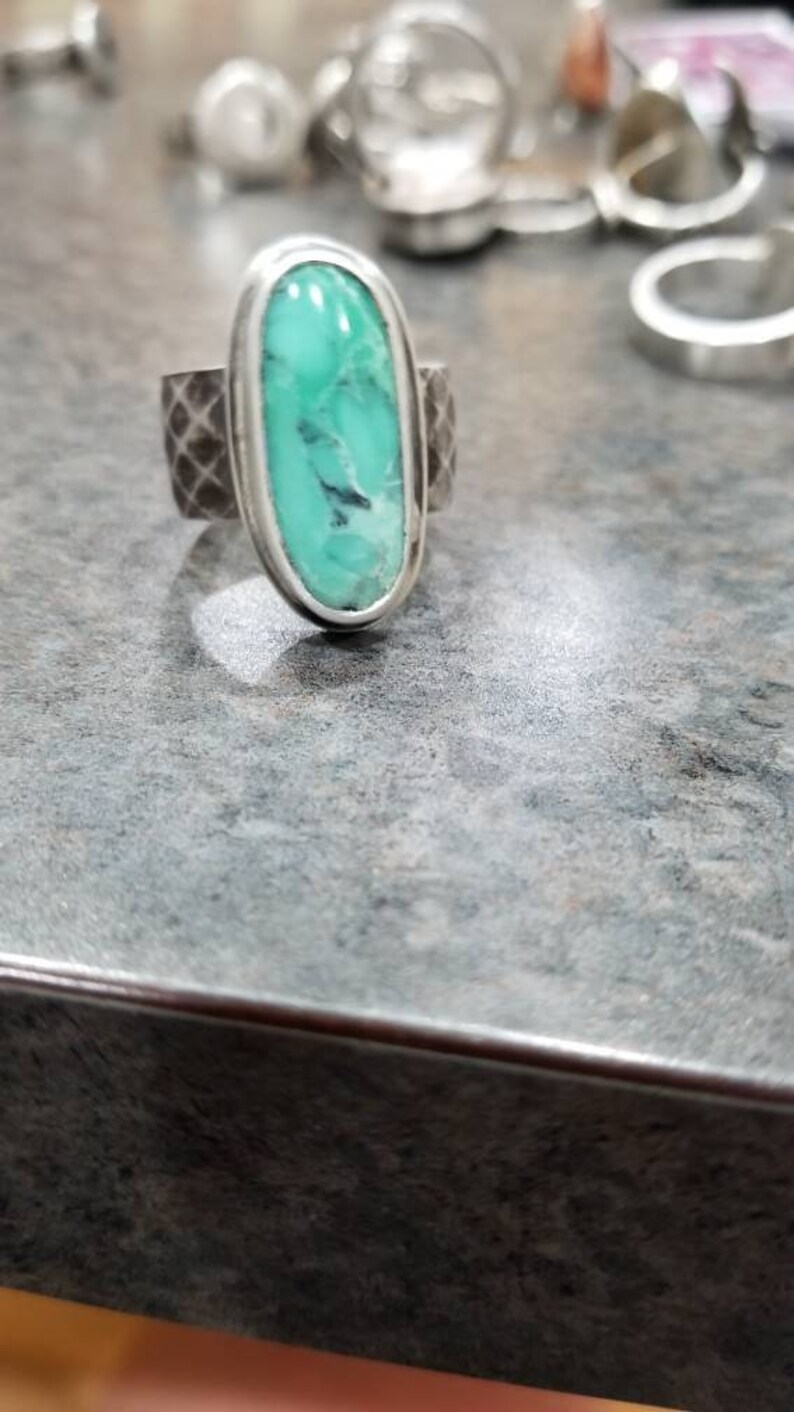 Nevada Variscite and Sterling Silver Ring size 9 12 Antiqued diamond band. Wide band
