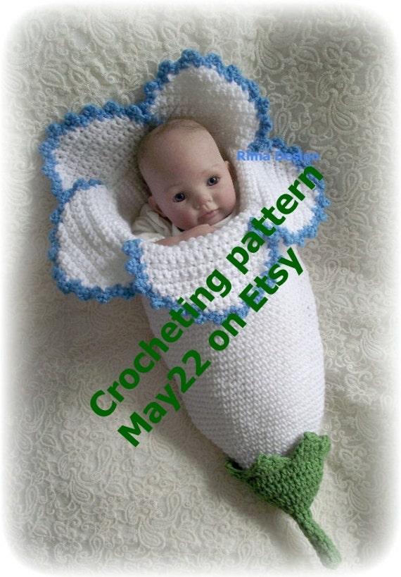 Crochet baby FLOWER cocoon pattern PDF Instant download   Etsy
