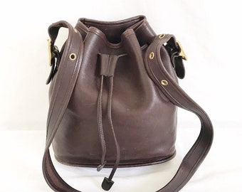 2e0c4a47cae1 Vintage COACH Brown Leather Bucket Bag Purse