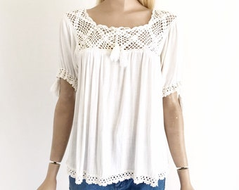 4651f4030afb35 Vintage 70 s Gauze Cotton Crocheted Hippie Blouse. Women s small