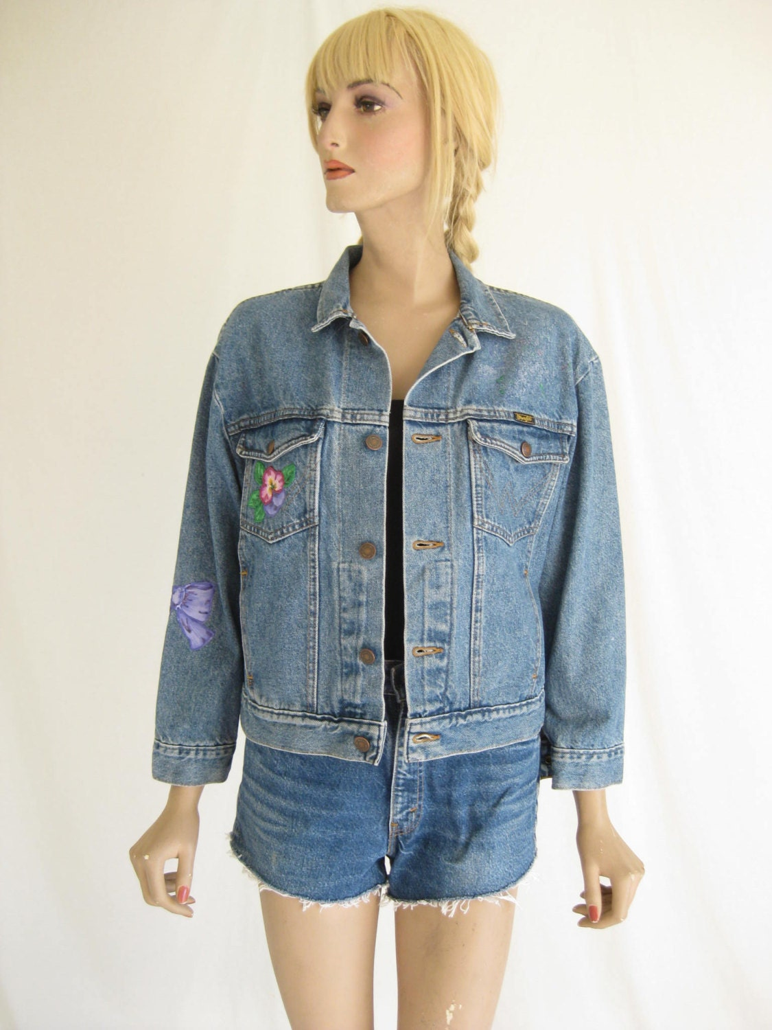 veste en jeans vintage 80 s wrangler jean trucker etsy. Black Bedroom Furniture Sets. Home Design Ideas