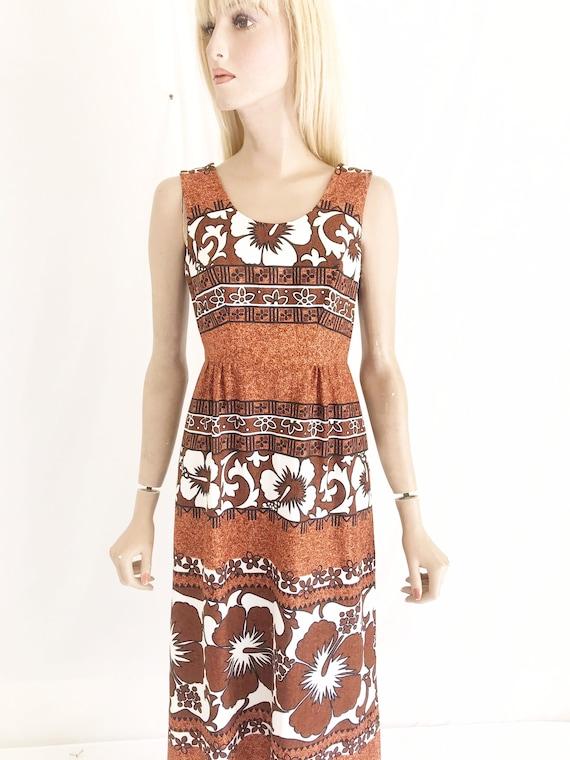 Vintage 60s Mod Hawaiian Maxi Dress. Women's Small