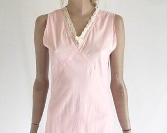 Vintage 40's Cotton  Bias Cut Slip Dress/ Negligee. Size X Small