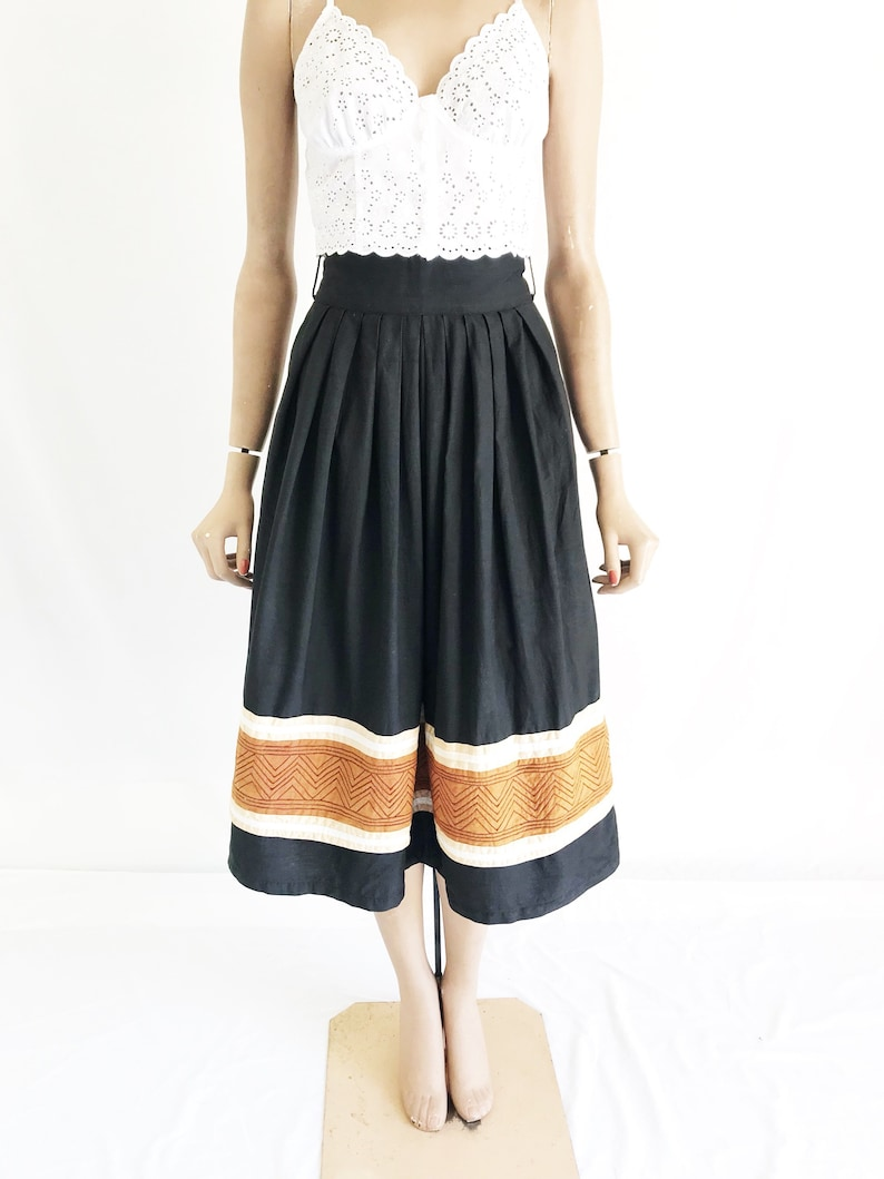 Size X Small Vintage 70/'s India Cotton High Waisted Midi Skirt