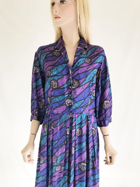 Vintage 50's Abstract Print Dress. Size Large