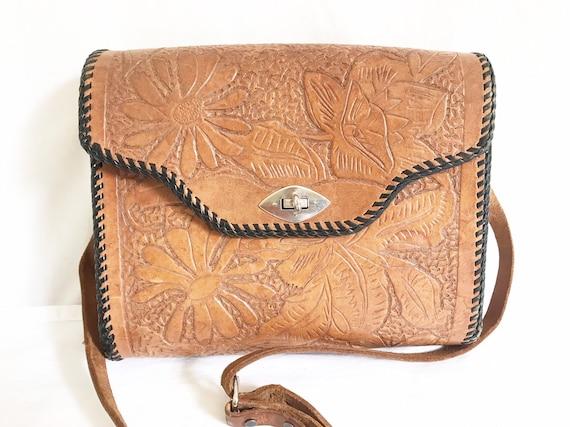 Vintage 1950's Western Tooled Leather Purse