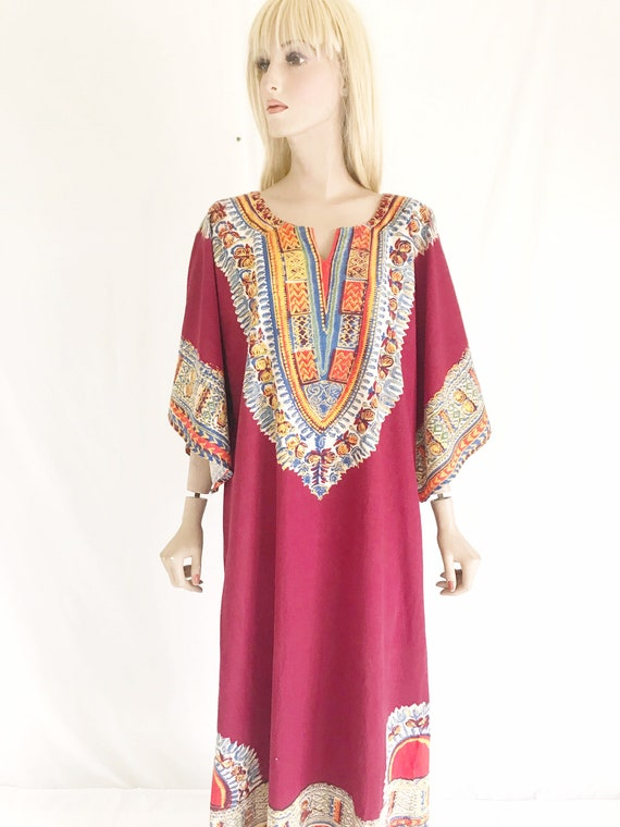 Vintage 70's India Cotton Caftan Maxi Dress