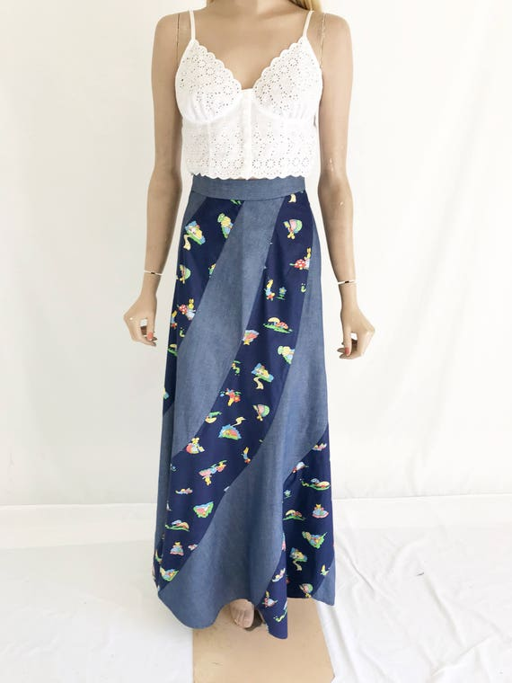 Vintage 70's Denim Hippie Boho Maxi Skirt