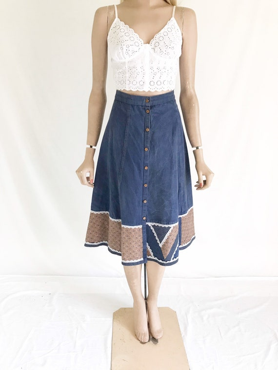 Vintage 70's GUNNE SAX Denim Skirt. Women's X Smal