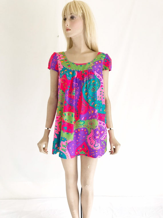 Vintage 60's Psychedelic Mod Printed Mini Dress