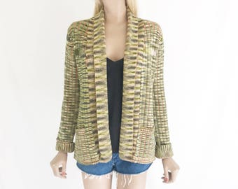 Vintage 70's Space Dyed Chunky Cardigan Sweater. Size Small