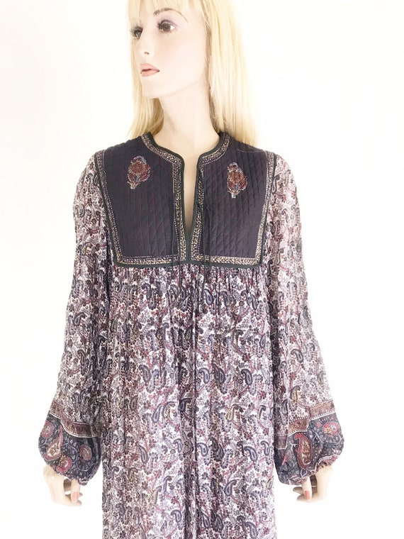Vintage 70's India Gauze Cotton Hippie Boho Dress