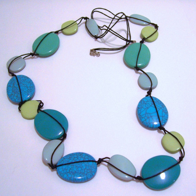 Vintage Turquoise Colored Venetian Color Blue Green Necklace 40\u201d Long Jewelry
