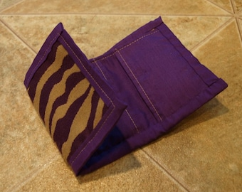 Purple Zebra Stripe Wallet with Pockets