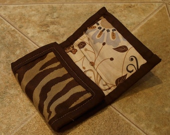 Brown Zebra Stripe Wallet with Pockets