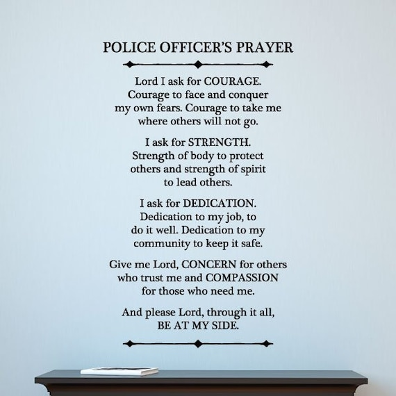 Police Officer Prayer Wall Quote Decal Inspirational Motivational Wall Art  Vinyl Wall Decal Blue Line Cops Police Office Wife Gift