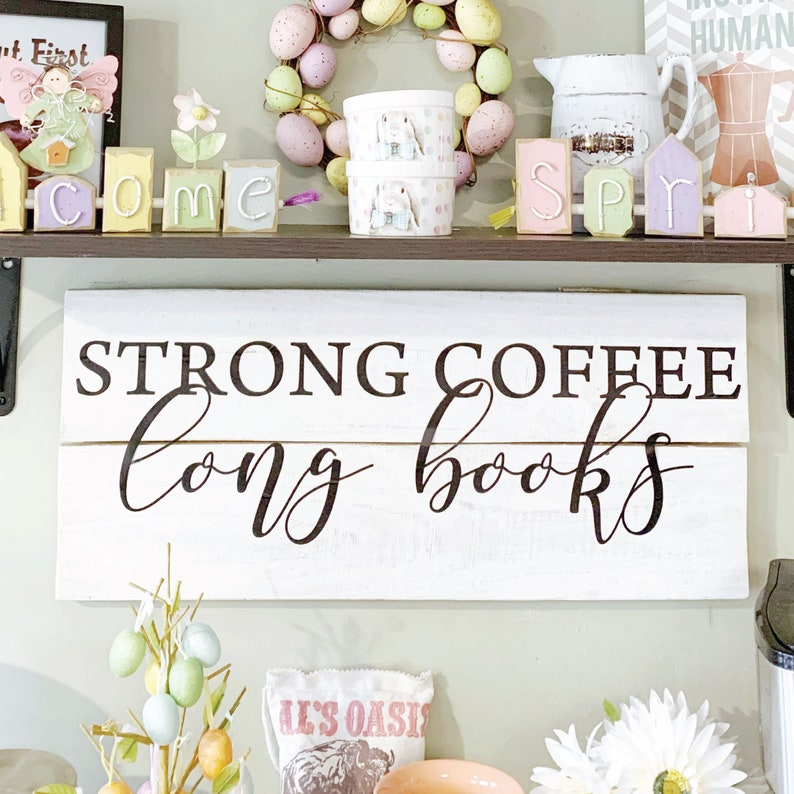 strong coffee long books wall quotes vinyl decal coffee bar