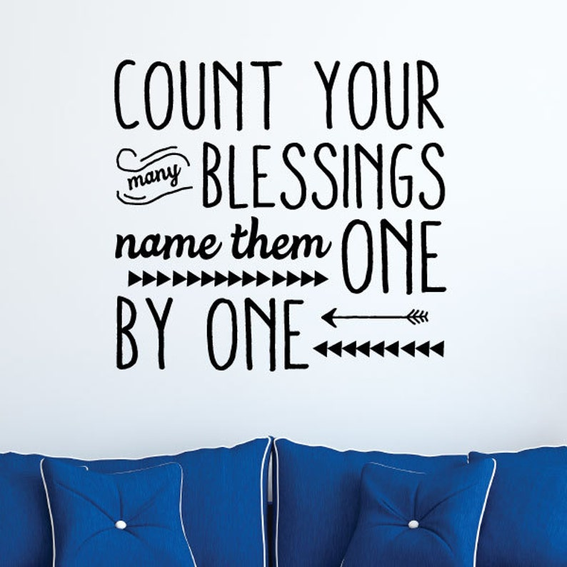 Count Your Blessings Quotes Decal Faith Religious Reminders Etsy