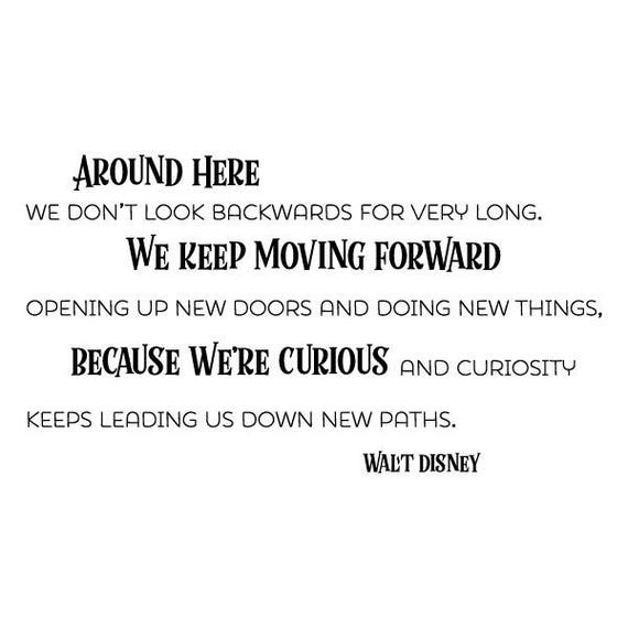 Because We\'re Curious Wall Quotes Vinyl Decal Disney Office Professional  Vinyl Wall Decal Walt Disney Motivational Home Office Work Desk