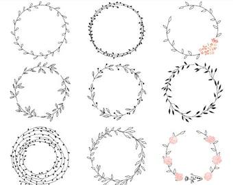 floral wreath clipart etsy rh etsy com wreath clip art frames wreath clip art black and white
