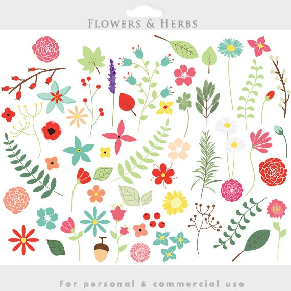 Floral clip art spring flowers clipart blooms wedding etsy image 0 mightylinksfo