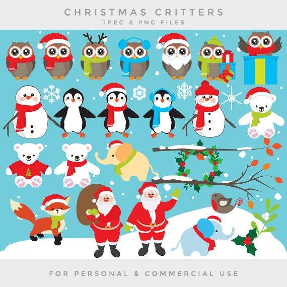 Clipart De Chouettes Noel Noel Clip Art Pingouins Ours Etsy