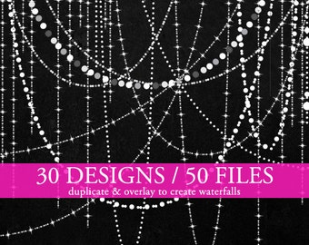 Sparkling strings of light clipart  - bokeh lights clip art fairy lights holiday clipart wedding glittering personal and commercial use