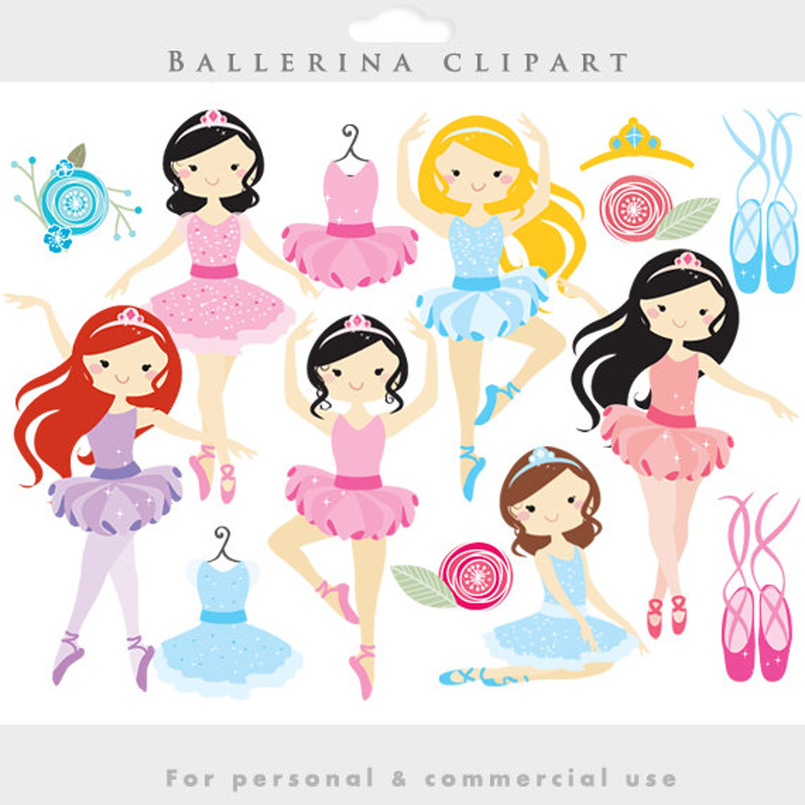 ballerina clipart - ballerina clip art, girl, ballet, dancing, dance dresses, slippers, ballet shoes, girly, for personal and co