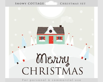 Christmas house clipart - snowy cottage clip art, house, snow, hills, red, green, Christmas trees, snowflakes, personal and commercial use
