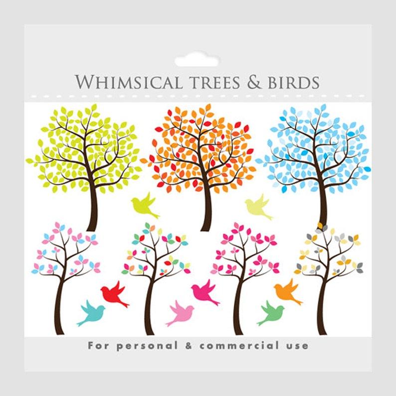 Tree Clipart Tree Clip Art Whimsical Cute Sweet Birds Etsy