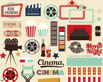 Movie night clipart - movie clip art cinema retro clipart vintage theatre theater popcorn cinema film reel digital papers frames film TV