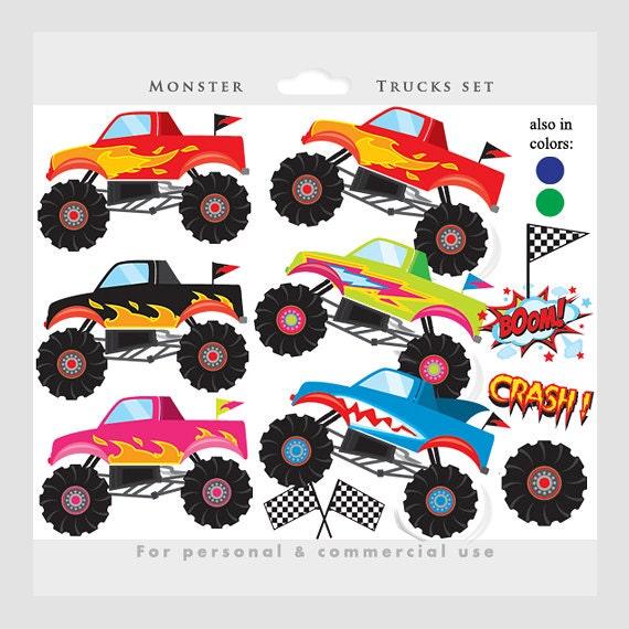 Monster Trucks Clipart Trucks Clip Art Pink Blue Fire Etsy