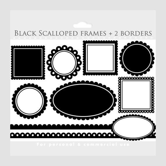 Black scalloped frames clipart - square, circle, oval, borders ...