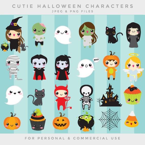 Clipart Halloween Mignon Kawaii Clipart Mignon Lunatique Vampire Zombie Chat Noir Momie Maison Hantée Citrouilles Squelettes Fantôme Sorcière
