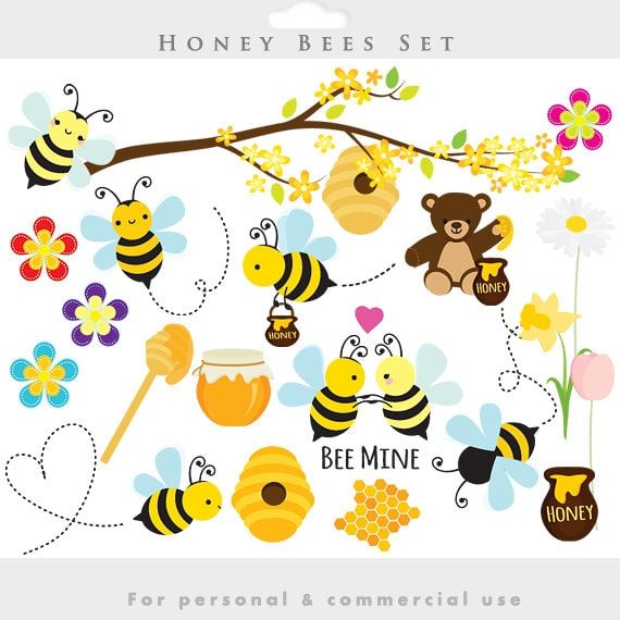 Bees clipart honey bees clip art spring bumblebees etsy image 0 mightylinksfo