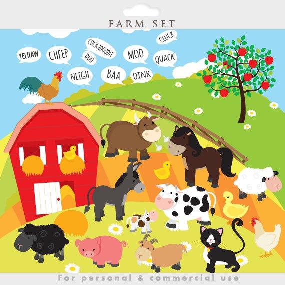 Bauernhof Tiere Clipart Bauernhof Clipart Farm Der Tiere Etsy