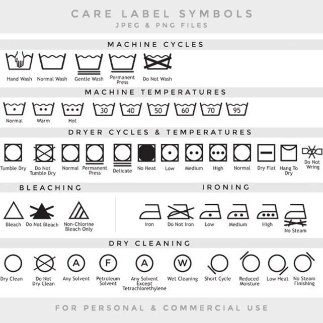 Care Label Clip Art Laundry Symbols Clipart Textile Care Etsy