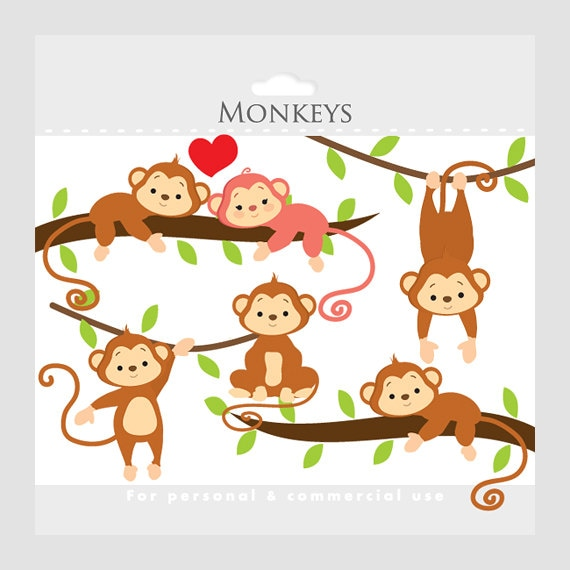 monkey clipart whimsical monkeys clip art cute monkeys jungle rh etsystudio com jungle clipart free jungle clip art free
