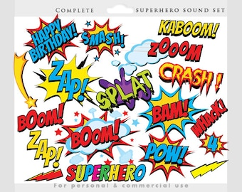 Superhero clipart - comic book clip art, super heroes, cityscape, sounds, sayings, super hero, pow, wham zap for personal and commercial use