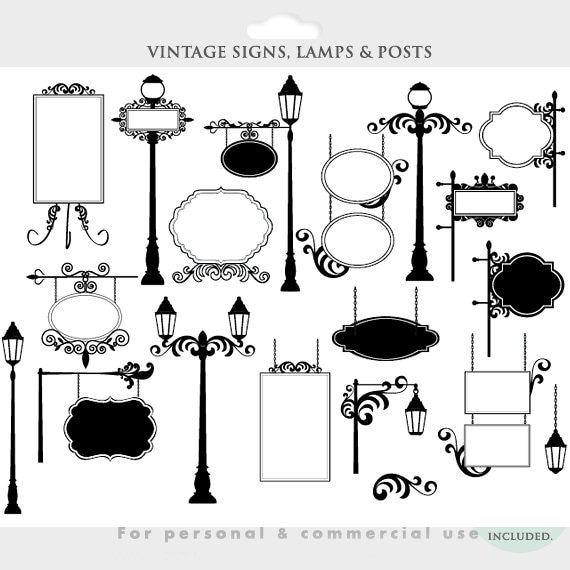 Vintage frames signs clipart signs clip art lamp posts ...